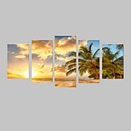 Недорогие -Пейзаж Отдых Фото Классика, 5 панелей Горизонтальная С картинкой Декор стены Украшение дома