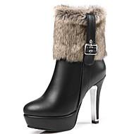 Damen-Stiefel-Büro Kleid Lässig-Kunstleder-Stöckelabsatz Plateau-Plateau Modische Stiefel-Schwarz Rot Weiß