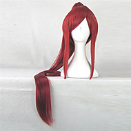 Anime Fairy Tail Erza Scarlet 100cm Long Synthetic Hair Red Costume Wig Beautiful Perucas Cosplay Wigs with1 Ponytail