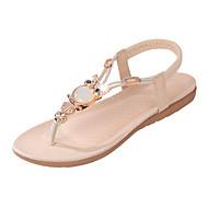 baratos Sapatos Femininos-Mulheres Sapatos Couro Ecológico Verão Conforto Sandálias Sem Salto Cristais / Elástico Preto / Bege / Azul