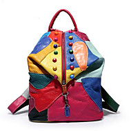 Women Bags PU leatherette Backpack Zipper for Casual Fall Rainbow