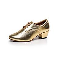 billige Moderne sko-Dame Sko til latindans / Dansesko / Salsasko Lær Joggesko Tykk hæl Kan spesialtilpasses Dansesko Sølv / Grå / Gylden / Ytelse / Trening / Profesjonell