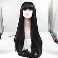 halpa Peruukkijuhla-Synteettiset pitsireunan peruukit Suora Otsatukalla Musta Naisten Lace Front Luonnollinen peruukki Synteettiset hiukset