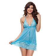 Feminino Baby-doll & Slip Super Sensual Roupa de Noite,Sensual Rendas Cor Única-Fino Renda Azul