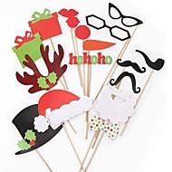 17pcs Photo Props Christmas Ornaments Christmas Cap & Red Lips & Mustache