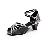 baratos Sapatilhas de Dança-Mulheres Sapatos de Dança Latina Courino Sandália Presilha Salto Robusto Personalizável Sapatos de Dança Roxo / Dourado / Cinza Claro / Interior / Espetáculo / Couro / Ensaio / Prática / Profissional