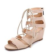 Χαμηλού Κόστους Hot U®-Γυναικεία Παπούτσια Φλις Άνοιξη / Καλοκαίρι Λουράκι στον Αστράγαλο Σανδάλια Τακούνι Σφήνα Ανοικτή μύτη Φερμουάρ / Με Τρύπες Μαύρο / Καφέ