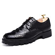 tanie Small Size Shoes-Męskie Buty Skóra patentowa Wiosna Jesień Mary Jane Oksfordki Spacery Szurowane na Casual Biuro i kariera Impreza / bankiet Black Brown
