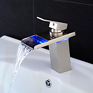 Stylish Single Handle Nickel Brushed LED Waterfall Bathroom Sink Faucet (Short)