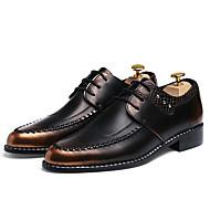 billige Lædersko-Herre Sko Læder Forår Efterår Formelle sko Modestøvler Oxfords Sort Lysebrun Bourgogne