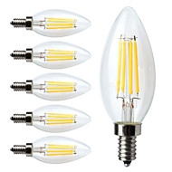 cheap LED Bulbs-6pcs 380 lm E12 LED Filament Bulbs C35 4 leds COB Dimmable Warm White AC 110-130V