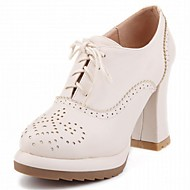 cheap Women's Oxfords-Women's Shoes Synthetic Patent Leather Leatherette Spring Fall Novelty Boots Walking Shoes Chunky Heel Platform Round Toe Lace-up for