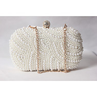 cheap Clutches & Evening Bags-Women's Bags Satin Evening Bag Beading / Pearl / Imitation Pearl White-Beige-Red