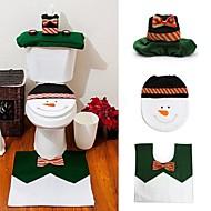 1組の幸せな雪だるまクリスマスのバスルームセット便座カバーラグクリスマスの装飾年