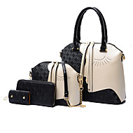 Χαμηλού Κόστους Σετ τσάντες-Γυναικεία Τσάντες Δερμάτινο Σετ τσάντα 4 σετ Σετ τσαντών Λευκό / Μαύρο / Τσάντα Σετ