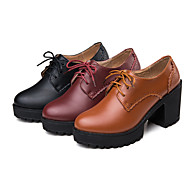 Dames Oxfords Lente Herfst Comfortabel PU Casual Lage hak Veters Zwart Bruin Bordeaux Overige