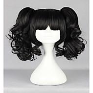 Naisten Synteettiset peruukit Suojuksettomat Kihara Musta Otsatukalla Poninhännällä Cosplay-peruukki Lolita Wig Halloween Peruukki