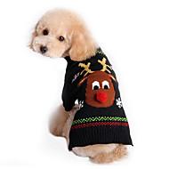 Недорогие Товары для животных-Кошка Собака Свитера Одежда для собак Северный олень Черный Хлопок Костюм Для домашних животных Муж. Жен. Очаровательный Праздник