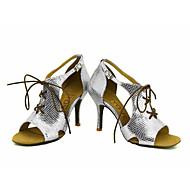 billige Sko til latindans-Kan spesialtilpasses-Dame-Dansesko-Latinamerikansk Salsa-Glimtende Glitter-Kustomisert hæl-Svart Blå Rød Sølv Gull