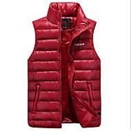 XXL / XXXL / 4XL אדום סתיו / חורף עומד פוליאסטר, מעיל פוך רגיל רגיל ללא שרוולים אחיד פעיל יומי בגדי ריקוד גברים / נוצות ברווז לבנות