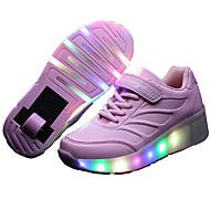 baratos Sapatos de Menina-Para Meninas Sapatos Couro Primavera / Verão / Outono Conforto / Tênis com LED Tênis Esquí / Tênis para Skate Cadarço / Colchete / LED para Preto / Azul / Rosa claro