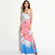 女性用 ビーチ シフト ドレス - プリント マキシ ストラップ