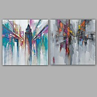Maalattu Abstrakti / Abstraktit maisemakuvat öljymaalauksia,Moderni / Classic 2 paneeli Kanvas Hang-Painted öljymaalaus For Kodinsisustus