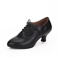 Dame Moderne dansesko Læder Hæle Cubanske hæle Kan tilpasses Dansesko Sort / Rød