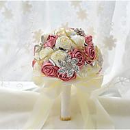 """פרחי חתונה עגול ורדים זרים חתונה חתונה/ אירוע פוליאסטר סאטן טפטה תחרה ספנדקס קצף פרחים מיובשים גביש אבן ריין 9.06""""(לערך.23ס""""מ)"""