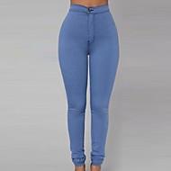 Feminino Skinny Jeans Calças-Cor Única Happy-Hour / Casual Sexy Cintura Alta Zíper Algodão Micro-Elástico All Seasons