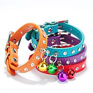 猫用品 / 犬用品 カラー 調整可能/引き込み式 / 手作り / ベル ラインストーン レッド / ブラック / ブルー / ピンク / パープル / オレンジ / ローズピンク PUレザー