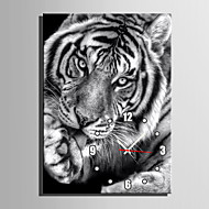 E-HOME® Black and White Tigers Clock in Canvas 1pcs