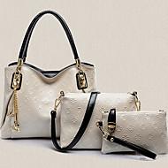お買い得  バッグセット-女性用 バッグ PU バッグセット 3個の財布セット のために アウトドア ワイン / ライトブルー / ダークグレイ