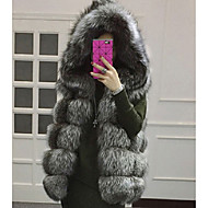 Women's Going out / Casual/Daily Cute Jackets,Solid Round Neck Sleeveless Fall Pink / Red / White / Black / Gray Faux Fur Medium