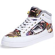 hesapli Rose Golden Sneakers-Erkek Ayakkabı PU Kış Rahat Spor Ayakkabısı Günlük için Bağcıklı Beyaz Siyah Kırmzı