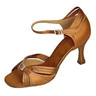 abordables Chaussures de Danse-Femme Latines Jazz Salsa Chaussures de Swing Satin Sandale Talon Intérieur Utilisation Entraînement Débutant Professionnel Strass Boucle
