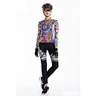 Malciklo Mulheres Manga Longa Calça com Camisa para Ciclismo Formais Moto Meia-calça, Tapete 3D, Secagem Rápida, Respirável Lycra