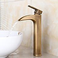Lavandino rubinetto del bagno - Saliscendi / Doccia a pioggia / Separato Rame anticato Installazione centrale Una manopola Due foriBath Taps