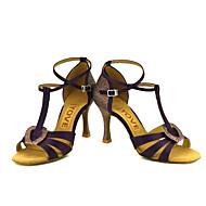 お買い得  大きいサイズ/小さいサイズ 靴-女性用 ラテン サルサ シルク サテン サンダル ヒール 性能 プロフェッショナル ベックル リボン紐 カスタムヒール ブルー ピンク 青銅色 アーモンド ヌード オーダーメイド可