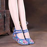 baratos Sapatos Femininos-Mulheres Sapatos Tecido Primavera / Verão Conforto / Alpargata Rasos Caminhada Salto Plataforma Ponta Redonda Presilha / Flor Preto /