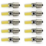 billige Kornpærer med LED-10pcs 3 W 280-300 lm E17 LED-spotpærer T 1 LED perler COB Dekorativ Varm hvit / Kjølig hvit 110-120 V / 10 stk. / RoHs
