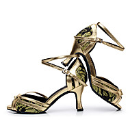 """billige Sko til latindans-Dame Latin Jazz Dansesko Moderne Kunstlær Joggesko utendørs Trening Tykk hæl Svart Sølv Rød Grønn 2 """"- 2 3/4"""" Kan spesialtilpasses"""