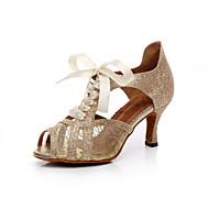 בגדי ריקוד נשים נעליים לטיניות דמוי עור סנדלים פאייטים עקב סטילטו מותאם אישית נעלי ריקוד זהב / שחור / כסף / בבית / אימון / מקצועי