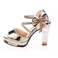 Sandaletler-Rahat-Rahat Kulüp Ayakkabı Ayakkabı Light Up-PU-Kalın Topuk-Beyaz Altın-Kadın
