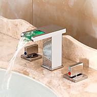 お買い得  割引蛇口-コンテンポラリー 組み合わせ式 滝状吐水タイプ LED セラミックバルブ 三つ 二つのハンドル三穴 クロム, バスルームのシンクの蛇口