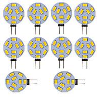 baratos Luzes LED de Dois Pinos-10 pcs g4 levou rodada lâmpada da gama lâmpada 15 leds 5730 smd 12 v-24 v dc / ac branco quente frio branco