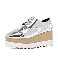 Dames Sneakers Comfortabel PU Leer Causaal Feesten & Uitgaan Formeel Comfortabel Veters Hak Zwart Zilver Gouden 7,5 - 9,5 cm