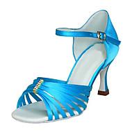 tanie Small Size Shoes-Damskie Latino Jazz Obuwie do swingu Salsa Satyna Sandały Na obcasie Domowy Wydajność Profesjonalne Dla początkujących Trening Stras