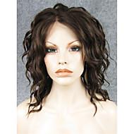 Syntetiska snörning framifrån Vågigt Beige Blond Syntetiskt hår Dam Naturlig hårlinje Peruk Spetsfront