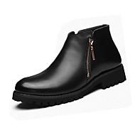 Herre-PU-Flat hæl-Komfort-Støvler-Fritid-Svart Brun Mørkerød